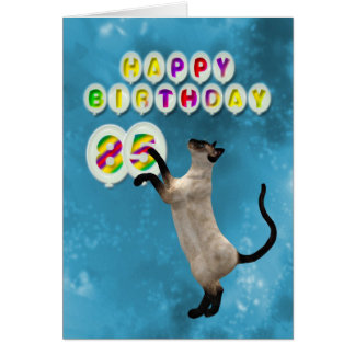 85th Birthday card with siamese cats