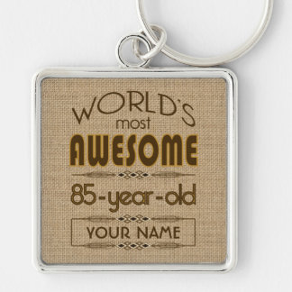 85th Birthday Celebration World Best Fabulous Silver-Colored Square Key Ring