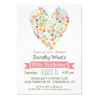 85th Birthday, Cute Floral Heart Birthday Party Card