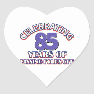 85TH birthday designs Heart Sticker
