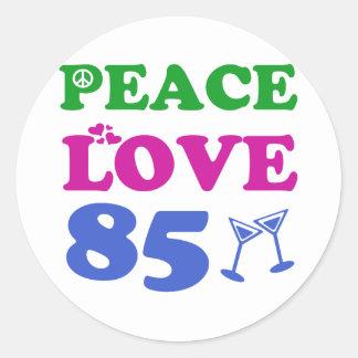 85th birthday designs round stickers