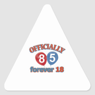 85th birthday designs triangle stickers