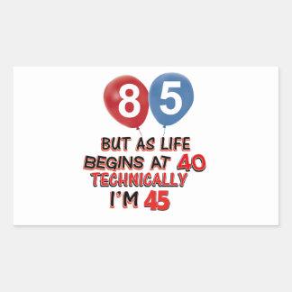 85th birthday designs rectangular stickers