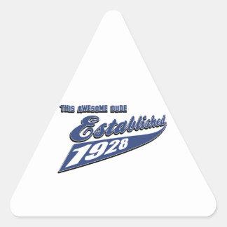 85th birthday designs triangle sticker