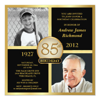 85th Birthday Invitations Then & Now Photos