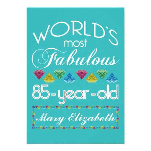 85th Birthday Most Fabulous Colorful Gem Turquoise Card