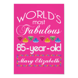 85th Birthday Most Fabulous Colorful Gems Pink 13 Cm X 18 Cm Invitation Card