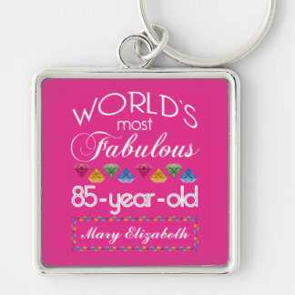 85th Birthday Most Fabulous Colorful Gems Pink Keychains