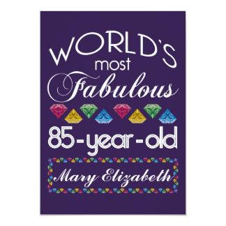 85th Birthday Most Fabulous Colorful Gems Purple 13 Cm X 18 Cm Invitation Card