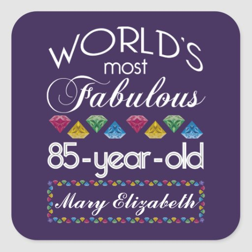 85th Birthday Most Fabulous Colorful Gems Purple Stickers