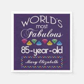 85th Birthday Most Fabulous Colourful Gems Purple Disposable Serviette