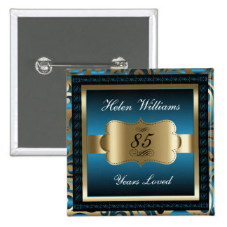 85th Birthday Party | Blue and Gold 15 Cm Square Badge
