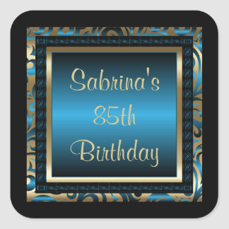 85th Birthday Party | DIY Text | Blue Square Sticker