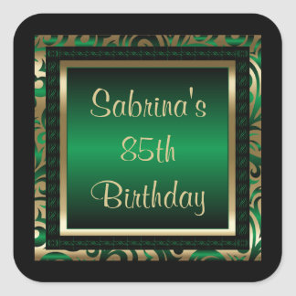 85th Birthday Party | DIY Text | Green Square Sticker