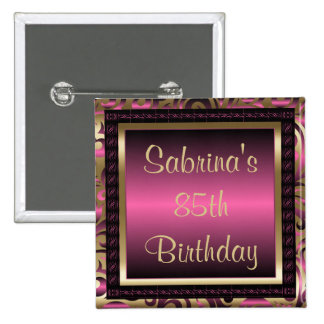 85th Birthday Party | DIY Text | Pink 15 Cm Square Badge