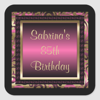 85th Birthday Party   DIY Text   Pink Square Sticker
