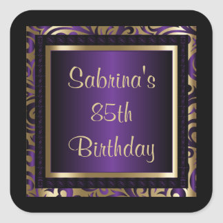 85th Birthday Party | DIY Text | Purple Square Sticker