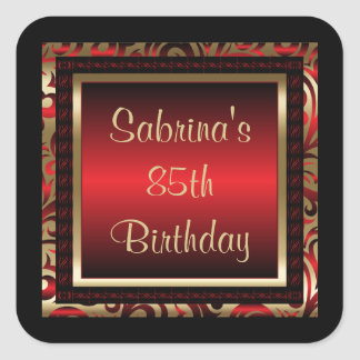 85th Birthday Party | DIY Text | Red Square Sticker