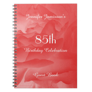 85th Birthday Party Guest Book, Coral Rose Notebook