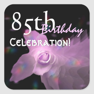 85th Birthday Party Pink Dancing Butterfly Rose Square Sticker