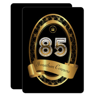 85th,birthday party woman man,elegant color card