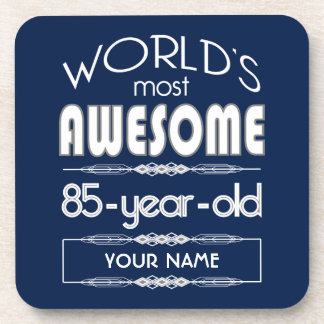 85th Birthday Worlds Best Fabulous Dark Blue Coaster