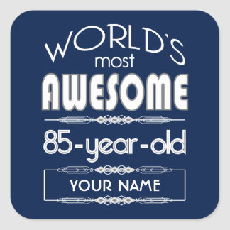 85th Birthday Worlds Best Fabulous Dark Blue Square Stickers