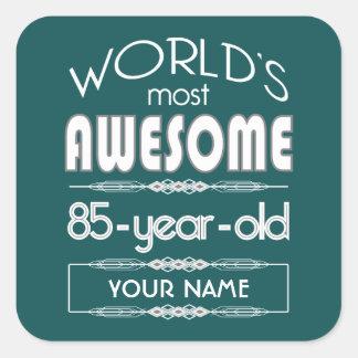 85th Birthday Worlds Best Fabulous Dark Green Square Sticker