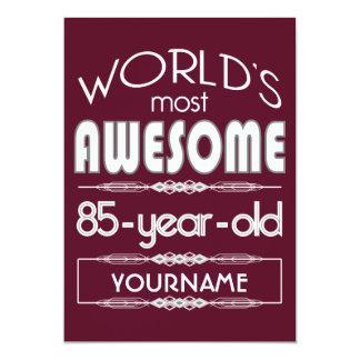 85th Birthday Worlds Best Fabulous Dark Red 13 Cm X 18 Cm Invitation Card