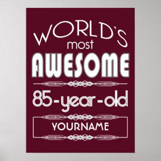 85th Birthday Worlds Best Fabulous Dark Red Print