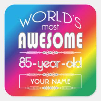 85th Birthday Worlds Best Fabulous Rainbow Square Sticker
