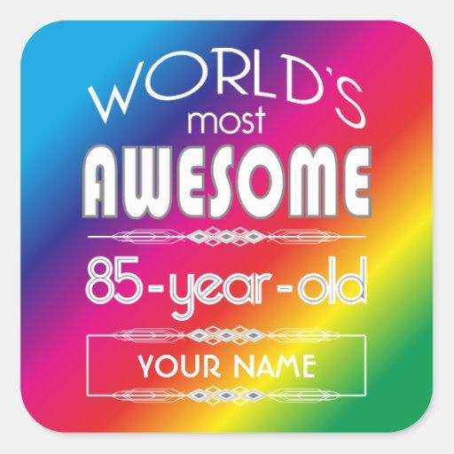 85th Birthday Worlds Best Fabulous Rainbow Sticker