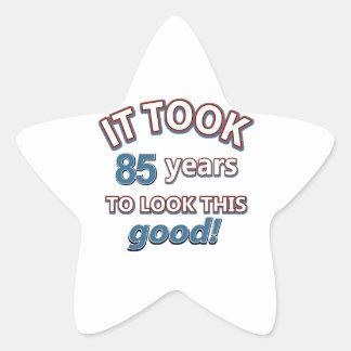 85th year birthday designs star sticker