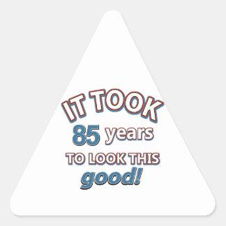 85th year birthday designs triangle sticker