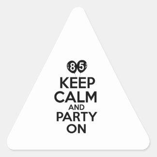 85th year birthday designs triangle stickers