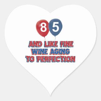 85th year birthday designs heart stickers