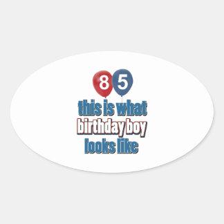 85th year birthday designs oval stickers
