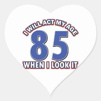 85th year birthday designs heart sticker