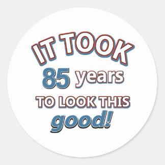 85th year birthday designs round sticker
