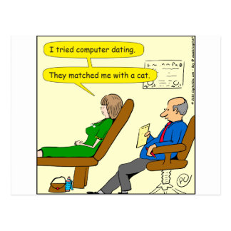 863 computer dating cartoon postcard