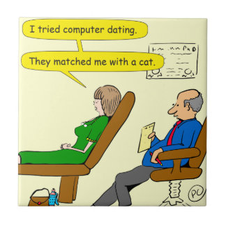 863 computer dating cartoon small square tile