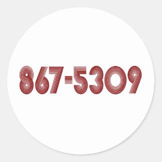 867-5309 ROUND STICKERS