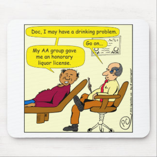 869 honorary liquor license cartoon mouse pad