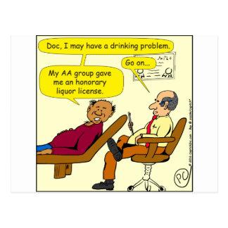 869 honorary liquor license cartoon postcard