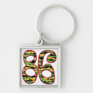 86 Age Camo Silver-Colored Square Key Ring