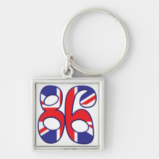 86 Age UK Silver-Colored Square Key Ring
