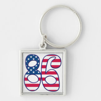 86 Age USA Silver-Colored Square Key Ring