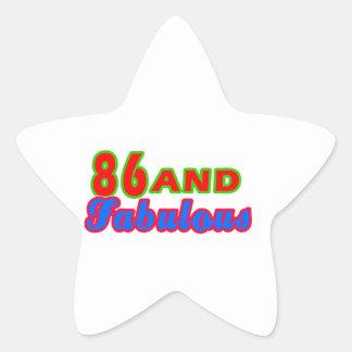 86 and Fabulous Birthday Designs Star Sticker
