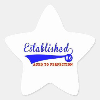 86 Birthday Aged To Perfection Star Sticker