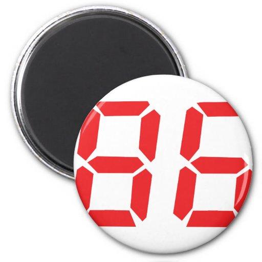 86 eighty-six red alarm clock digital number fridge magnet